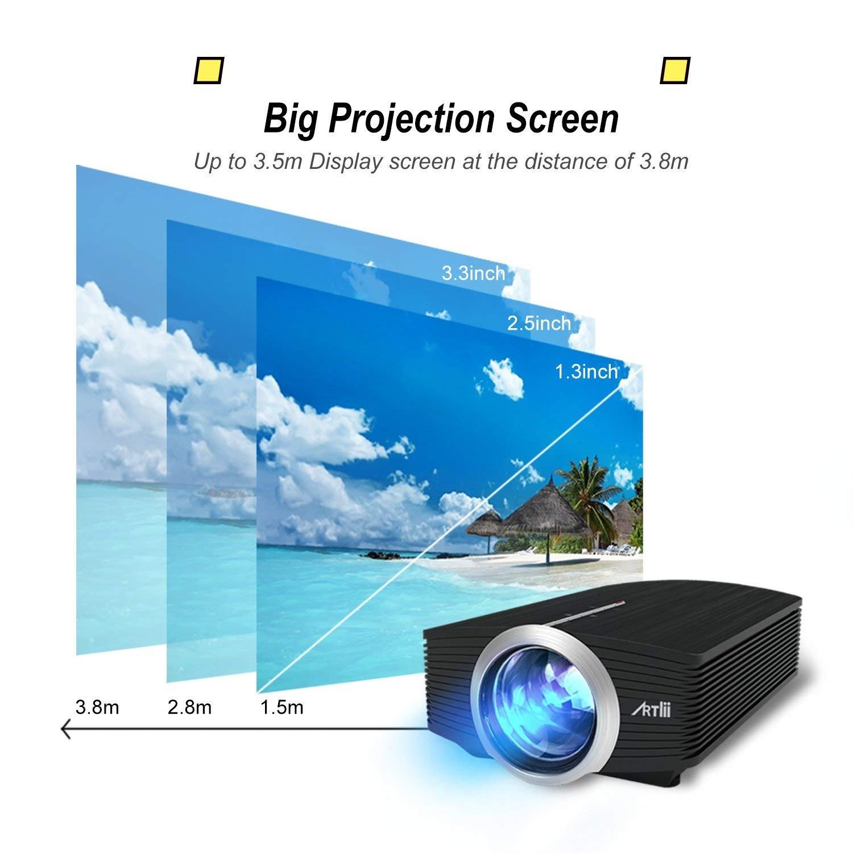 """Proyector LED, Artlii Mini Proyector Portatil 1600 Lúmens,800x480 WVGA,Consigue una Imagen de 100"""", con Cable HDMI/ AV Gratis, y USB/ SD/ VGA ..."""