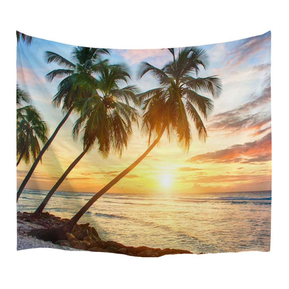 XINYI Home Wall Hanging Nature Art Polyester Fabric Coconut Tree Theme Tapestry, Wall Decor for Dorm Room, Bedroom, Living Room, Nail Included - 80'' W x 60'' L (200cmx150cm) - Tree Palm Golden Tree 1
