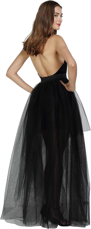 Women Maxi Tulle Skirt High Waist Front Slit Layered Ladies Party Tutu Skirt UK