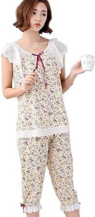 Pijamas Mujer Mujer Slim Fit 2 Pedazos Floreadas Sleeveless ...