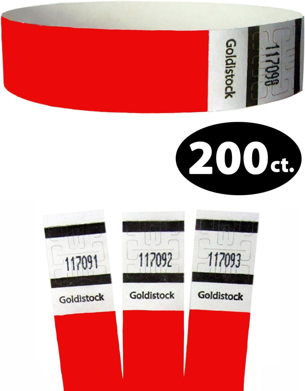 """Evento Iden Pulseras Tyvek De 3//4 /""""Neon Red 500 Count Seleccione La Serie"""