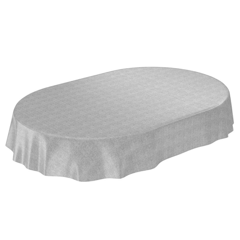 Mantel Anro, para mesa, con aspecto de lino, lavable, toalla pvc, gris, Rund 120cm: Amazon.es: Hogar