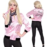 Vintageplace23 Tdmall Ladies 50s Pink Satin Grease Jacket with Polka Dot Scarf Hen Night Halloween Costume Fancy Dress