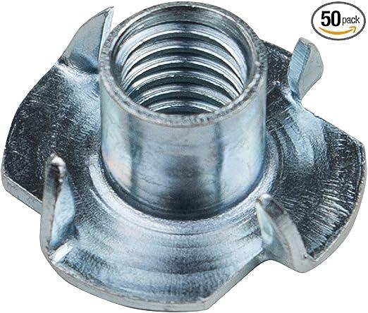 5//16-18 x 7//16 Eowpower 50Pcs 4 Pronged Zinc Plated Tee T-Nut