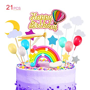 Kitchen-dream 21PCS Rainbow Cake Topper Kit Decoraciones con ...