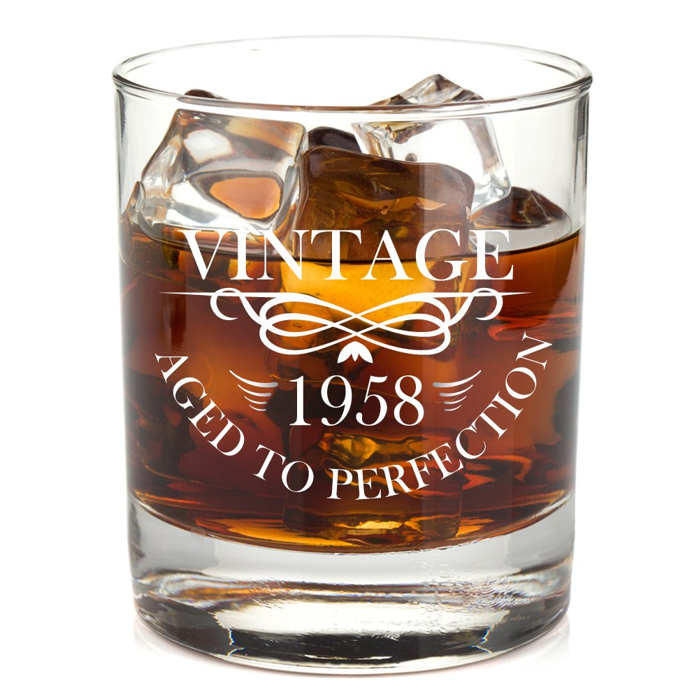 1958 60th Birthday Lowball Whiskey Glass for Men and Women - Vintage Aged To Perfection - Anniversary Gift Idea for Him, Her, Husband or Wife - 60 Year Old Presents for Mom, Dad - 11 oz Bourbon Scotch