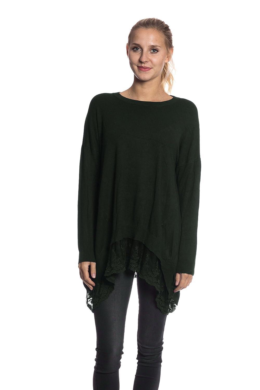 ITALY Damen Pullover Strickkleid Long Pulli Sweater Sweatshirt gestreift 36-40