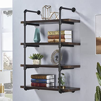 amazon com homissue 4 shelf rustic pipe wall shelves 31 5 inch rh amazon com espresso cube wall shelves espresso wall shelves for bathroom