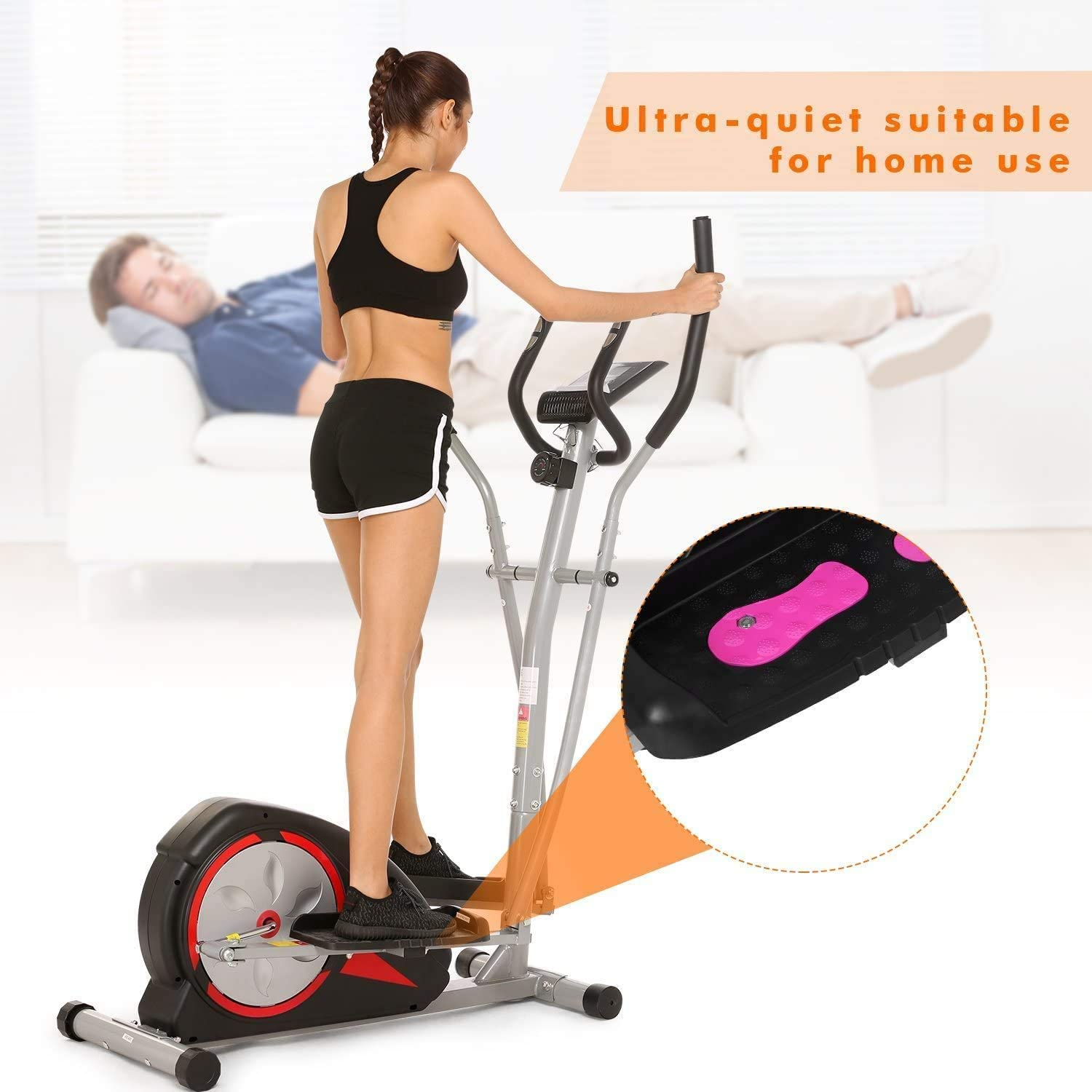 Elliptical Machine Magnetic Elliptical Training Machines with LCD Monitor Smooth Quiet Driven Pulse Rate Grips Elliptical Exercise Machine for Home Gym Office Workout
