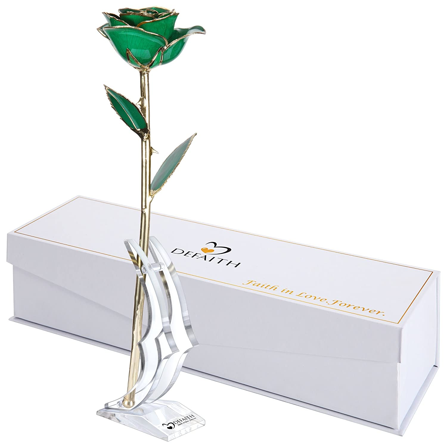 (K.deep Green) - DeFaith Green 24K Gold Rose, Unique Anniversary Gifts for Mother Wife Girlfriend Her Women, Made from Real Rose Flower with Stand B014IZ4CZG K.Deep Green
