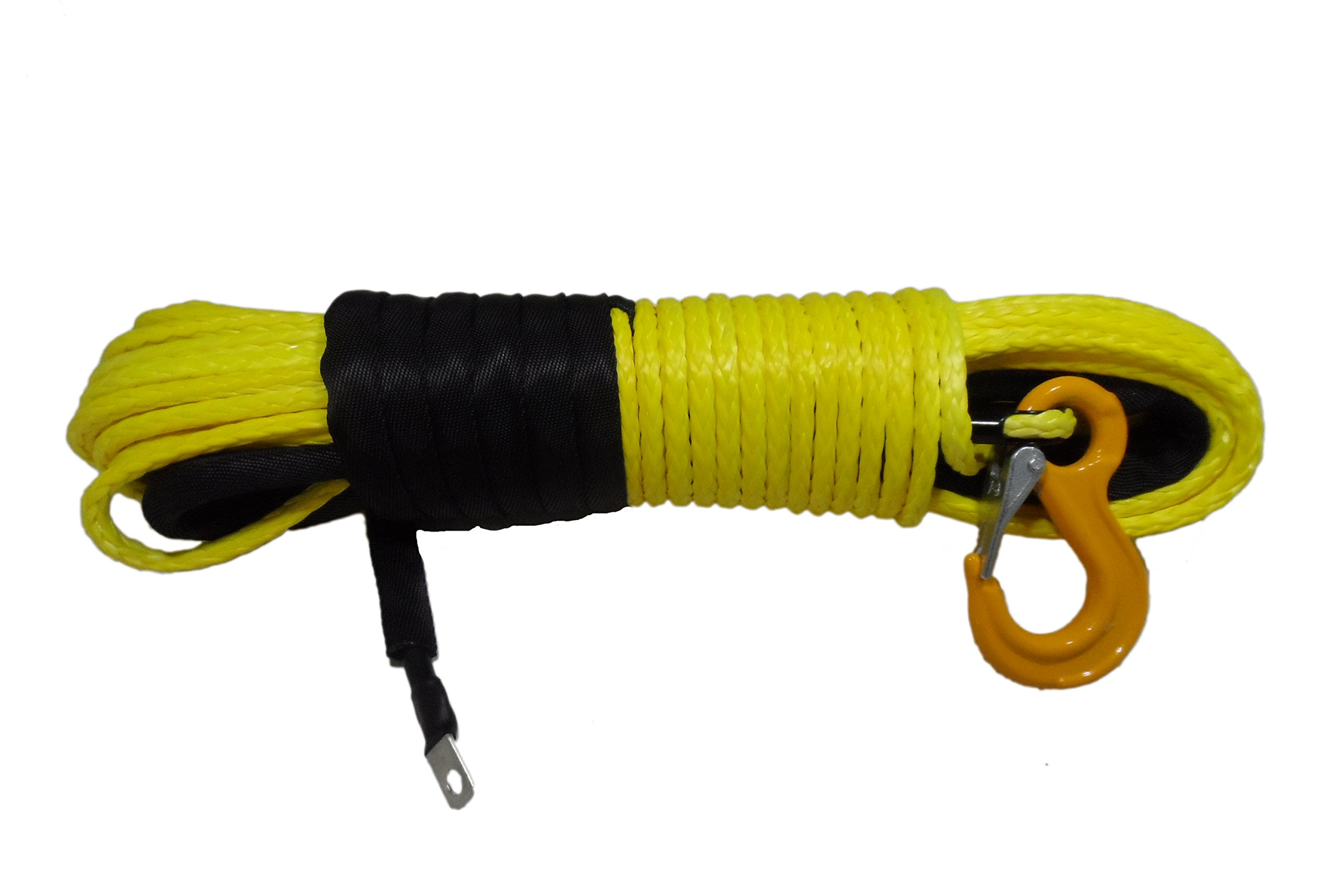 California Cordage 5/16'' x 50' Yellow DynaTech UHMWPE Winch Rope with G80 Forged Hook