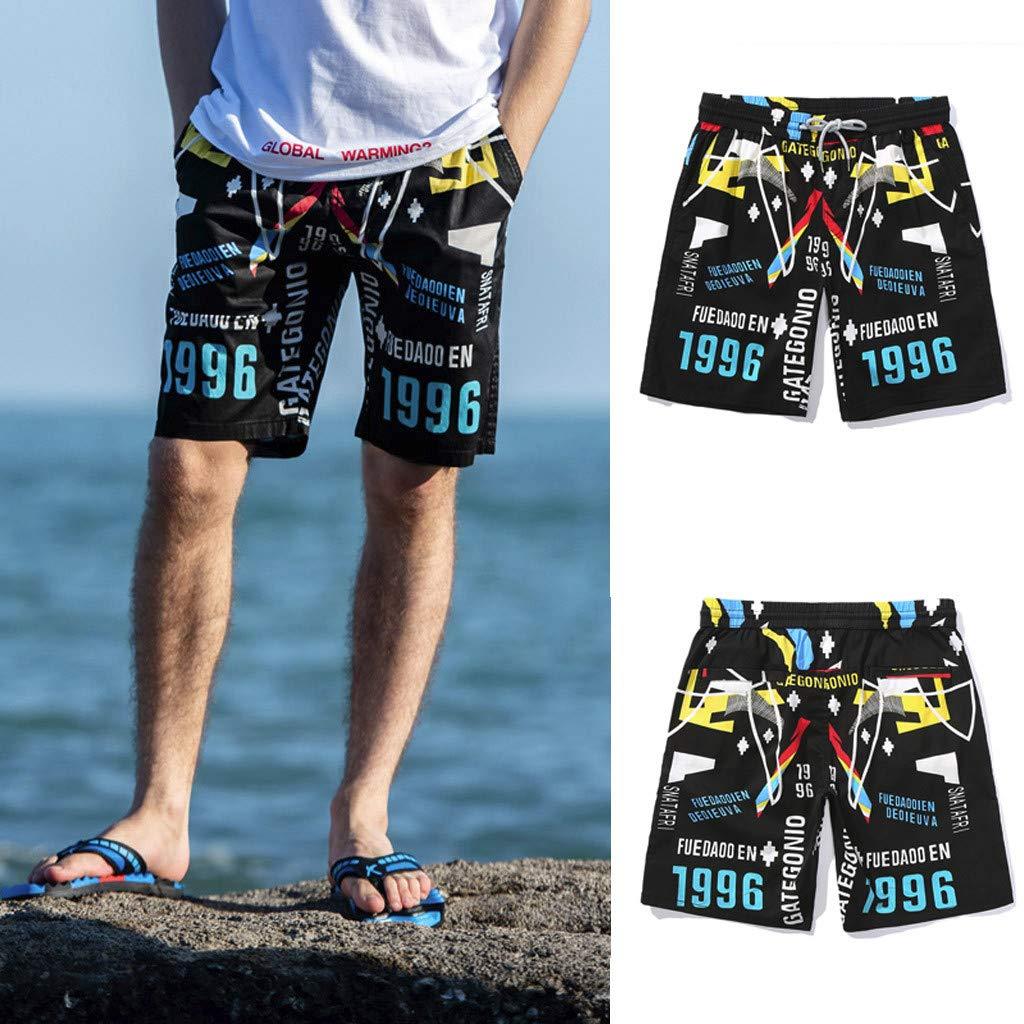 FONMA Men Spring Summer Shorts Print Quick Dry Beach Surfing Running Short Pant