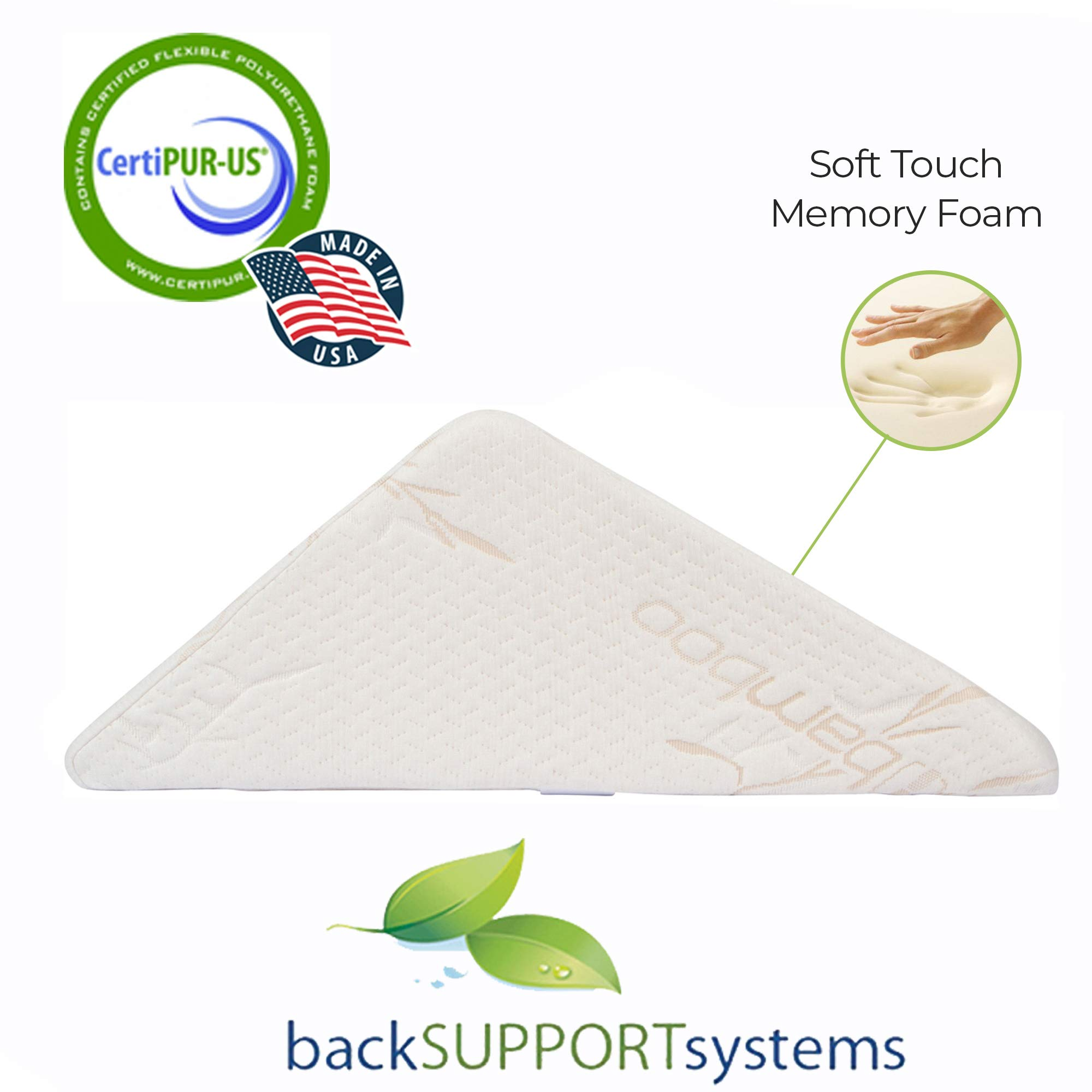 The Angle by Back Support Systems - Guaranteed to Help Reduce Back Pain Immediately. Eco Friendly, Medical Quality Memory Foam Bed Wedge Leg Pillow for Reducing Back Pain, Back Therapy and Sleeping by Back Support Systems (Image #3)