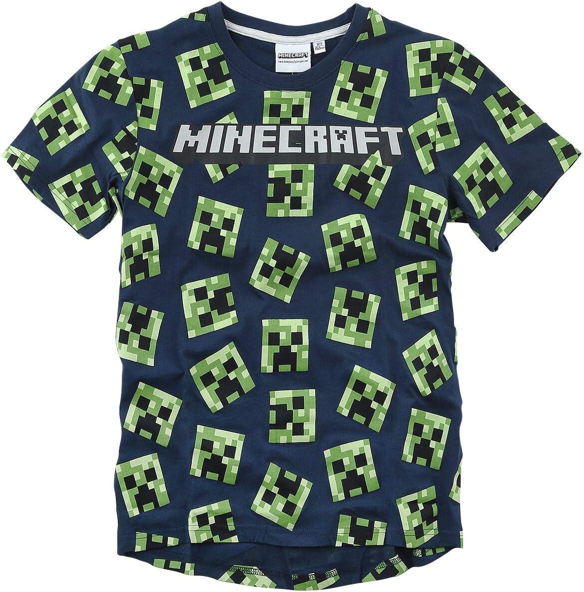 Minecraft Global Brands Group Camiseta T-Shirt Azul BLU Navy 100 Caras Creeper Cactus del Videojuego Original Oficial
