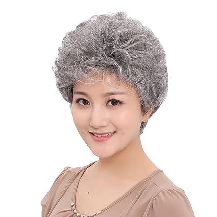 Snifgoij Peluca Mujer Cabello Corto Abuela Gris Gris Corto Cabello Rizado De Mediana Edad Peludo Fluffy