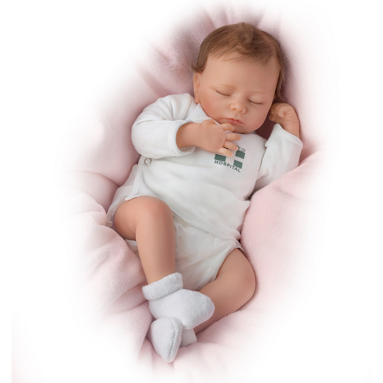 Ashley Breathes with Hand-Rooted Hair - So Truly Real® Lifelike, Interactive & Realistic Newborn Baby Doll 17-inches by The Ashton-Drake Galleries