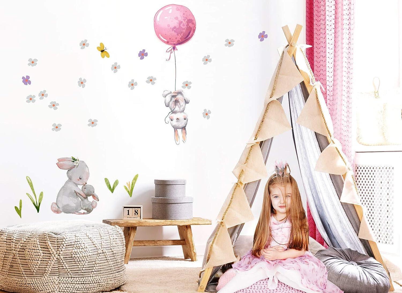 Little Deco Wandtattoo Babyzimmer Hasen mit Ballon Rosa I S I Blumen Kinderbilder Deko Kinderzimmer M/ädchen Aufkleber Sticker DL238 BxH 56 x 56 cm