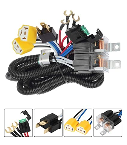 amazon com: h4 9003 dual high low beam headlight relay wiring harness with  high heat ceramic plugs: automotive