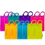 14 Pack TravelMore Luggage Tags For Suitcases, Flexible Silicone Travel ID Identification Labels Set For Bags & Baggage - Multi Color Pack