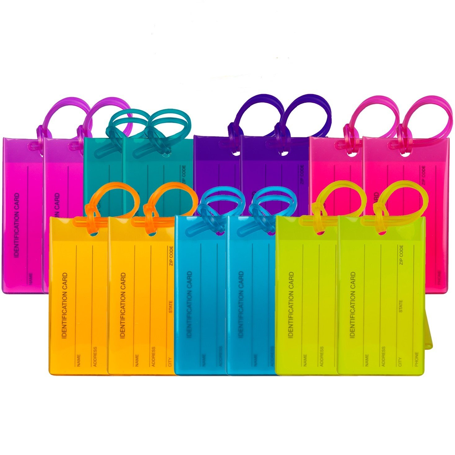 14 Pack TravelMore Luggage Tags For Suitcases, Flexible Silicone Travel ID Identifier Labels Set For Bags & Baggage - Multi Color Pack