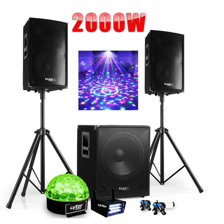 PACK SONO DJ 2000W CUBE 1512 avec CAISSON + ENCENTES + PIEDS + CABLES + Strobe + Sixmagic product image