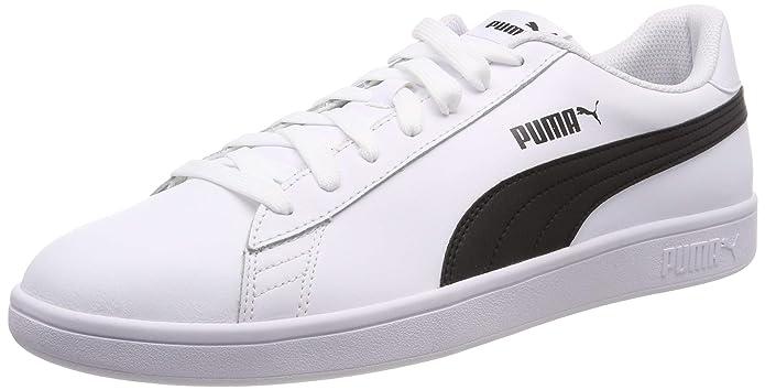 Puma Smash V2 L Sneaker Damen Herren Unisex Weiß mit schwarzen Streifen