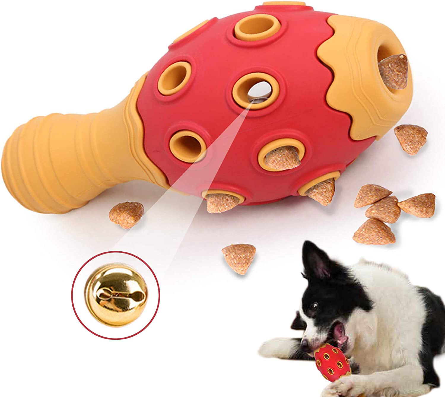 Bowling Dog Chew Toys for Aggressive Chewer, Natural Rubber Food Dispensing Dog Puzzle Toys, Multifunctional Interactive Vocal Puzzle Leaking Bowling Ball Toys for Small Medium Large Dogs (Red-orange)