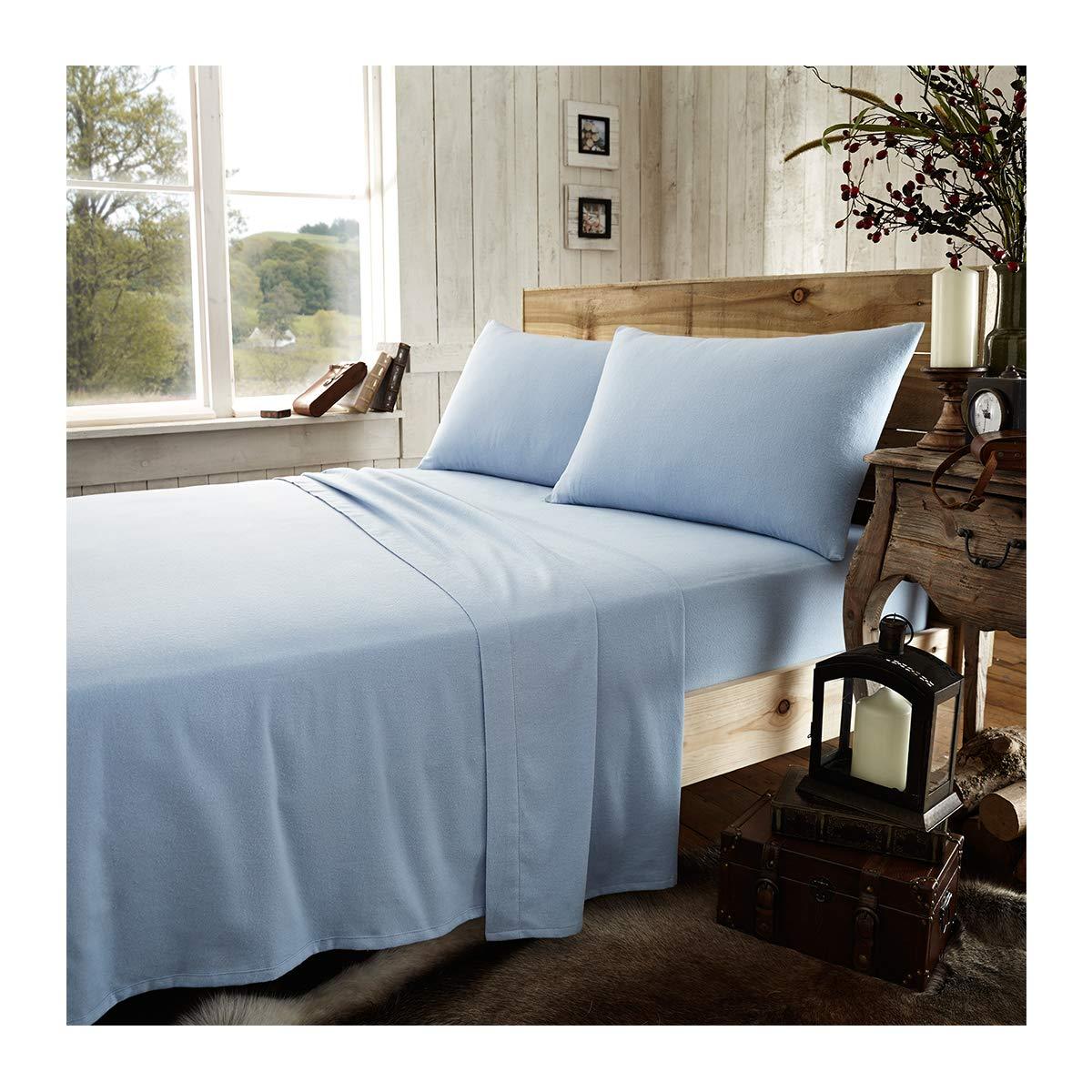 Double - Black Gaveno Cavailia Luxury Brushed 100/% Cotton Plain Dyed Flannel Duvet Set,