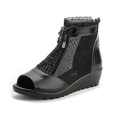 ebde2fc64bd Women s Flat Wedge Sandal Peep Toe Genuine Leather Mesh Summer Dress  Campagus (5.5) Black