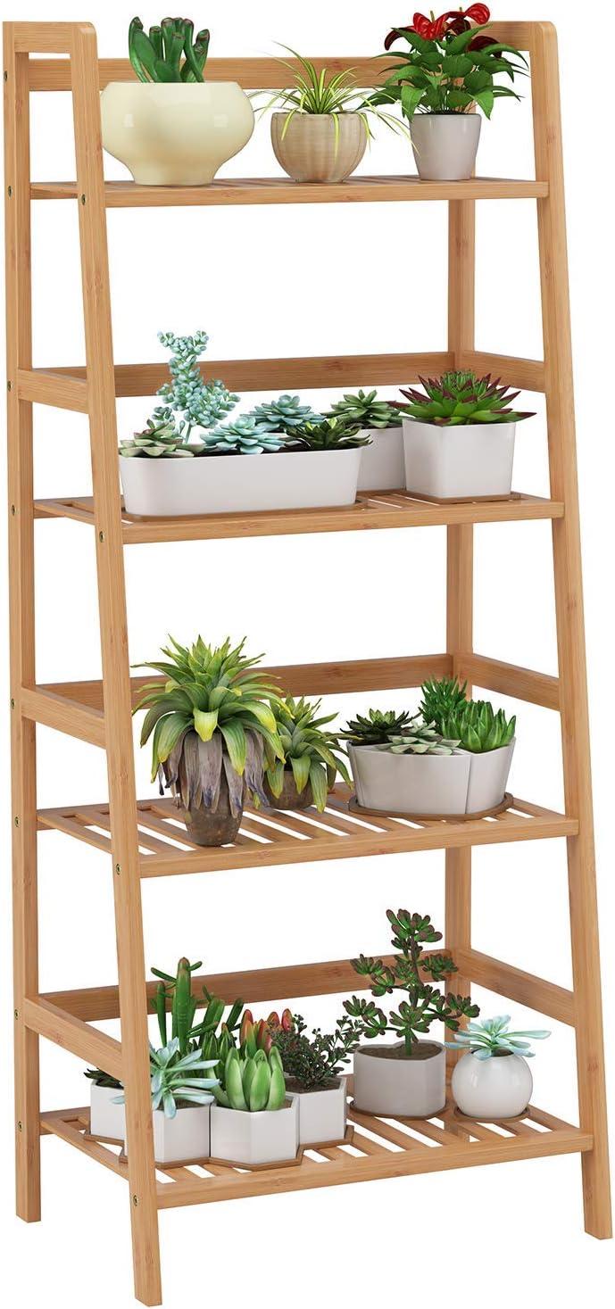 Homfa Estantería de jardín de bambú para flores, tipo escalera de 4 pisos, ideal para patio, jardín, balcón