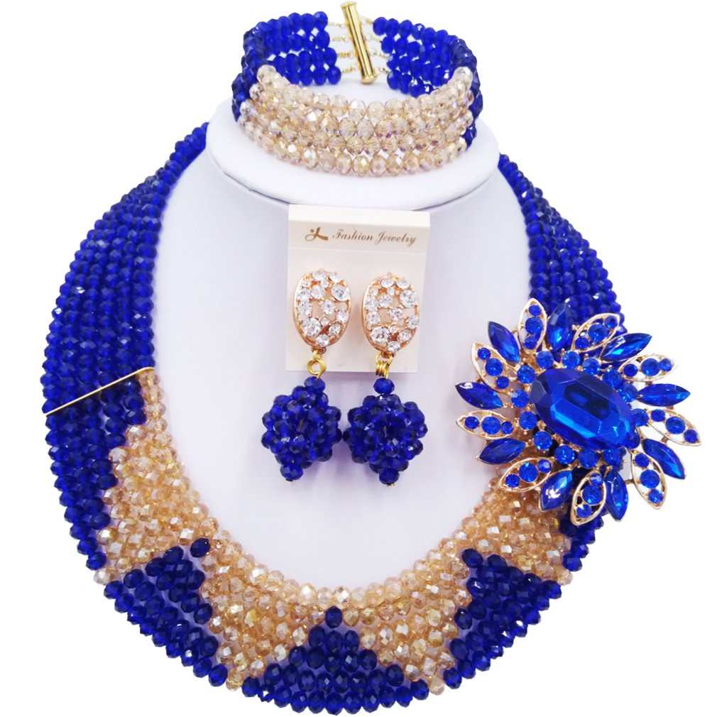 aczuv 6 Rows Crystal Nigerian Beaded Jewelry Set African Wedding Beads Bridal Jewelry Sets (Royal Blue and Gold AB)