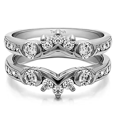 Sterling Silver Half Halo Classic Style Ring Guard with Cubic Zirconia (1  ct. tw