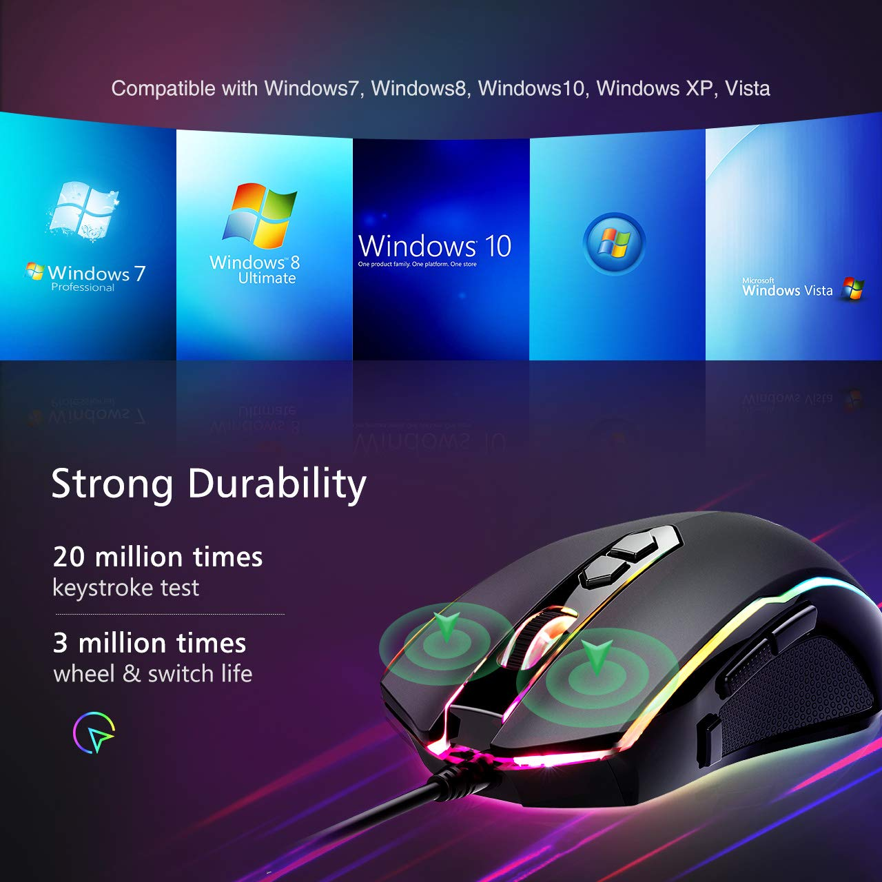 Pictek 7200DPI 8-Button Chroma RGB Wired Gaming Mouse w