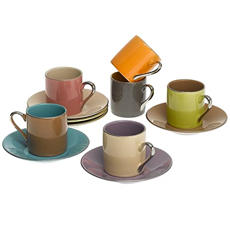Amazon.com | Espresso Coffee Cups with Matching Saucers (Set of 6 ...
