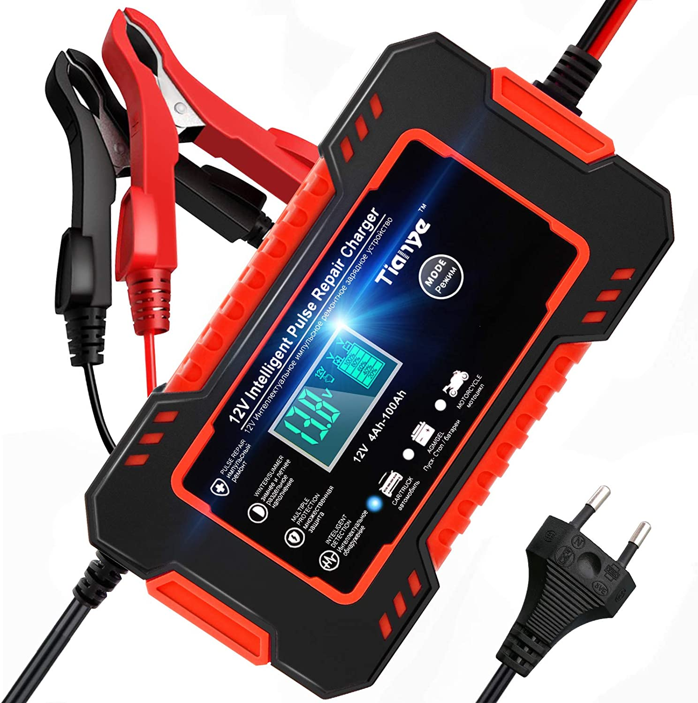 NWOUIIAY Autobatterie Ladeger/ät 6A 12V Batterieladeger/ät Automatische Reparatur Typ Intelligente Blei-S/äure-Ladeger/ät Ladeger/ät f/ür Fahrzeug und Motorrad