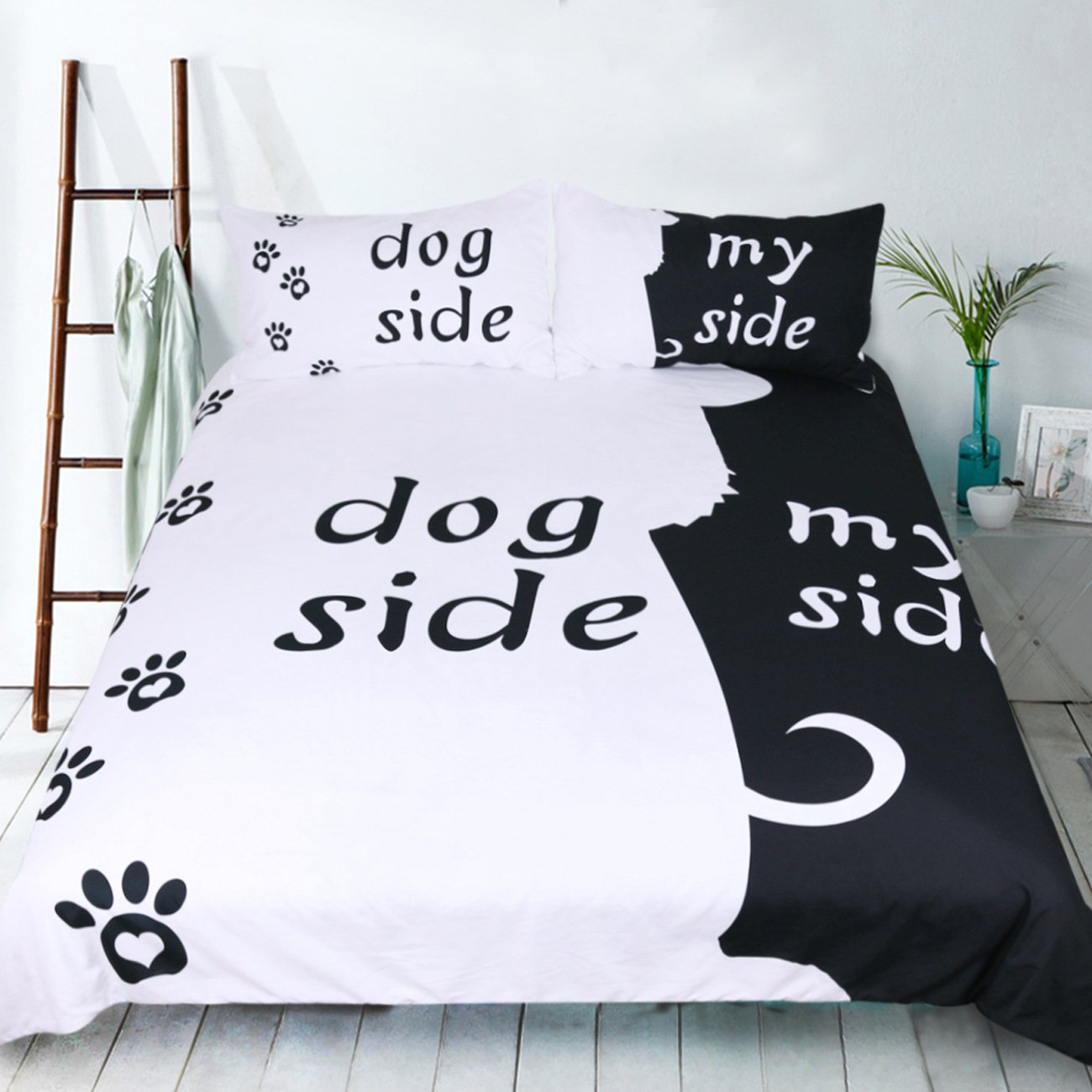 SホテルコレクションCat Side / My Side 3dホワイトブラック羽毛布団カバーセット、2ピースキルトカバーset-extremelyソフト耐久性 キング ブラック B0799JBF2F犬 キング