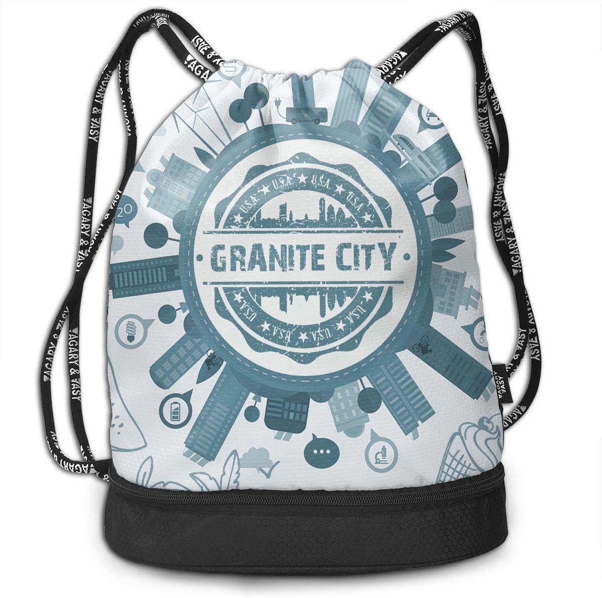 X-JUSEN Print Granite City Multi-Function Drawstring Bundle Backpack Tote Cinch Sack Gym Bag Pocket Daypack Burst Sackpack