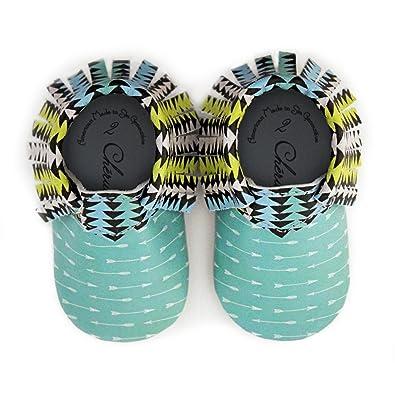 b7756ac26d7 Teal Aztec Trendy Arrow Design Neon Accents Moccasin Size 1 3-6 Month 100%