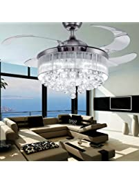 COLORLED Ceiling Flush Mounted Light Kit Crystal Silver Drawing Retractable  42 Inch Ceiling Fan For