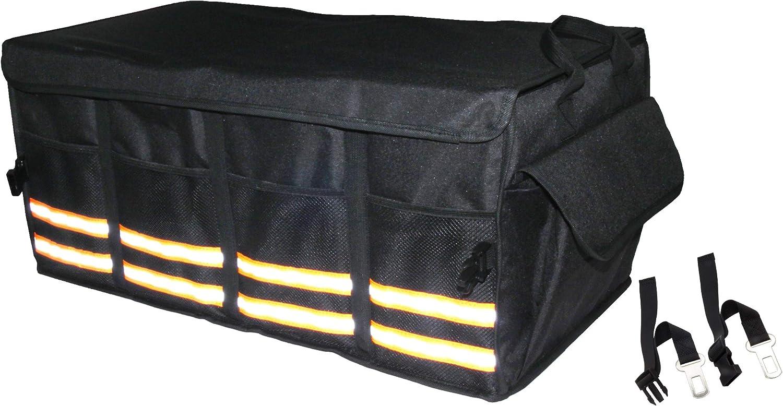 Trunk Organizer for SUV Car Minivan Adjustable Compartments Foldable Portable Trunk Organizer Black, 2 in 1 Heavy Duty Durable Car Organizer Truck Removable Flexible Storage Groceries Bag