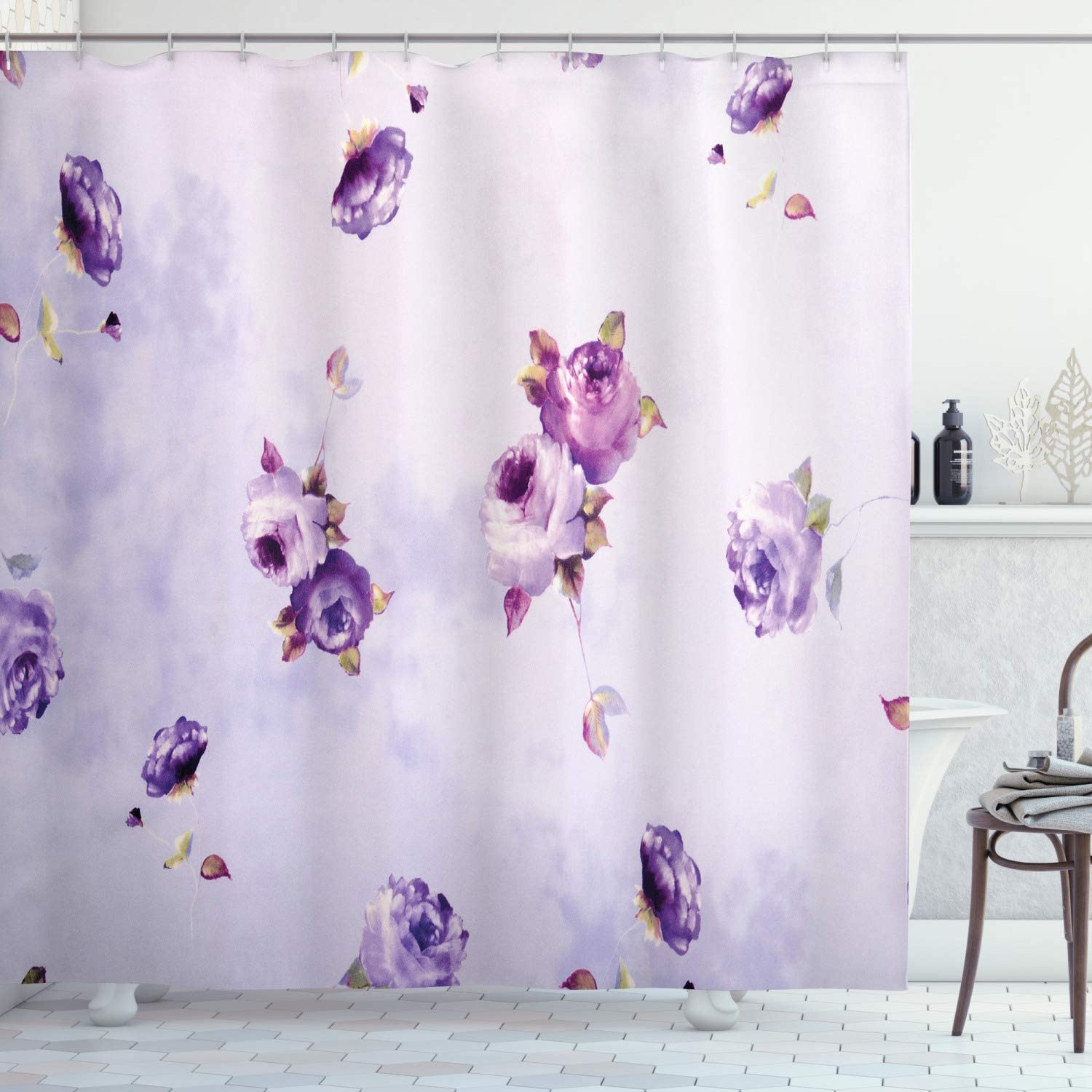 Ambesonne Rose Shower Curtain, Floral Pattern with Mauve Roses in Purple Color Dreamy Clouds Retro Soft Pale Art, Cloth Fabric Bathroom Decor Set with Hooks, 75
