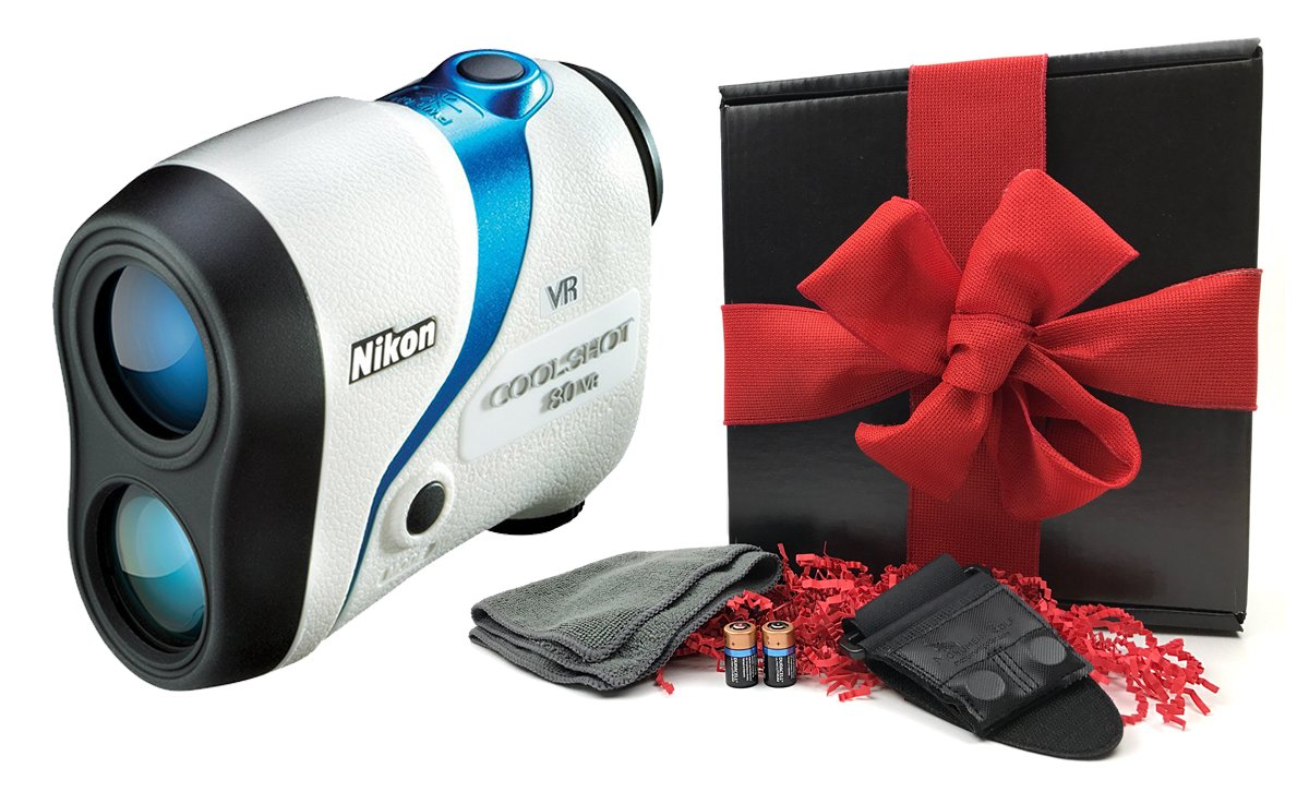 Nikon Coolshot 80 VR (Non-Slope) Golf Laser Rangefinder GIFT BOX Bundle | Includes Magnetic Cart Mount, PlayBetter Microfiber Towel, Protective Case & Two (2) CR2 Batteries | Vibration Reduction