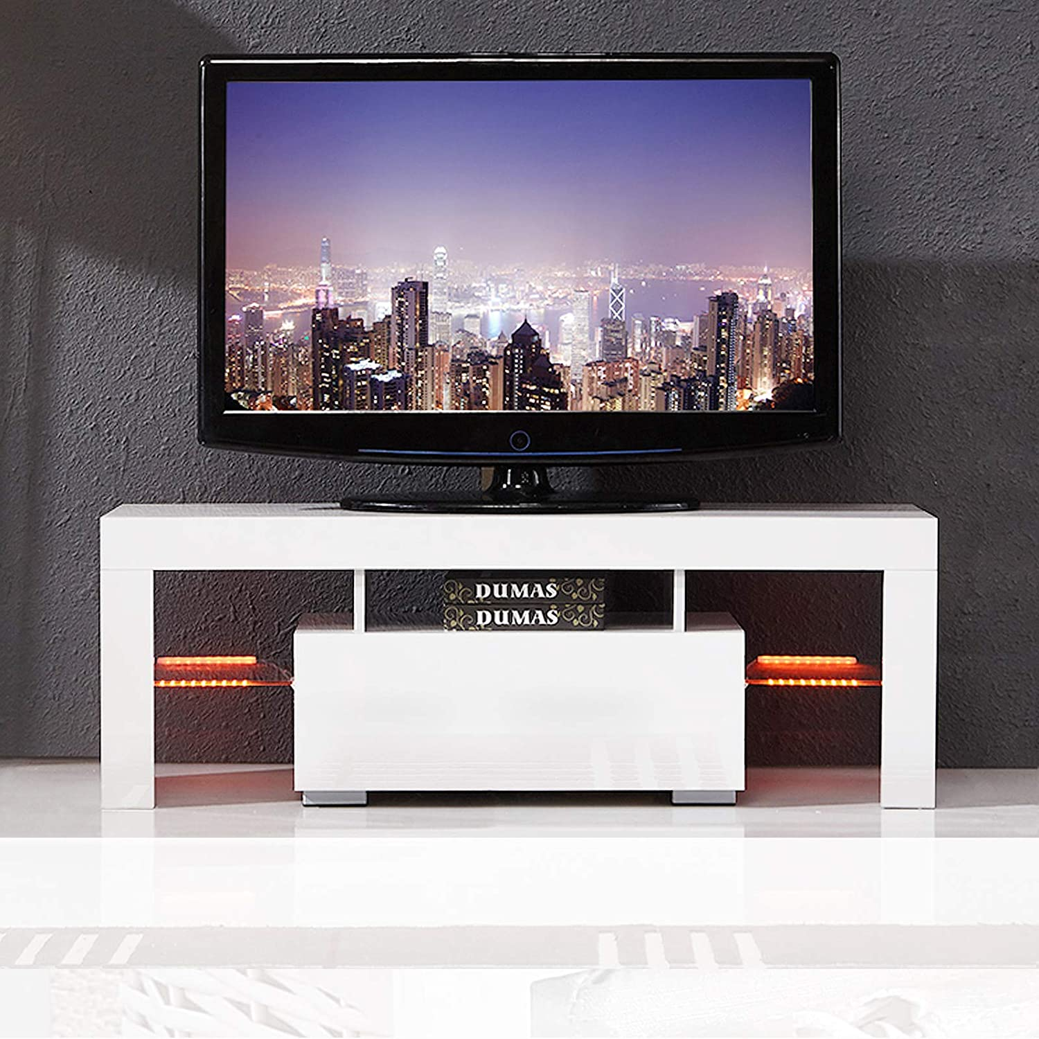 Amazon com mecor modern white tv stand 51 inch high gloss led tv stand console table for living room kitchen dining