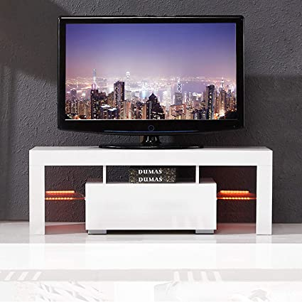 Attirant Amazon.com: Mecor Modern White TV Stand, 51 Inch High Gloss LED TV Stand  Console Table For Living Room: Kitchen U0026 Dining