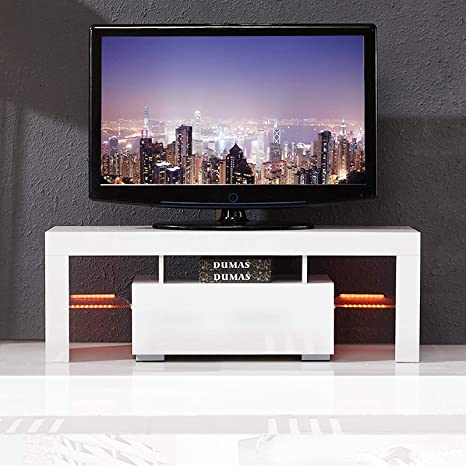 finest selection 21fc2 51f48 mecor Modern White TV Stand with LED Light, 51 Inch High Gloss LED TV Stand  with Drawer Console Table for Living Room