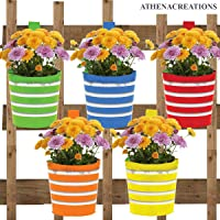 ATHENACREATIONS Round Ribbed Railing Planters | Planter Pot with Hanger | Gamla | Hanging Planter Basket for Home and Balcony(Multicolour, Pack of 5)