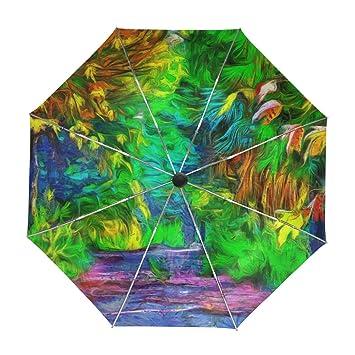 ALAZA Caída de Viajes Fantasía del Bosque Paraguas de Apertura automática Cerca de Protección UV a