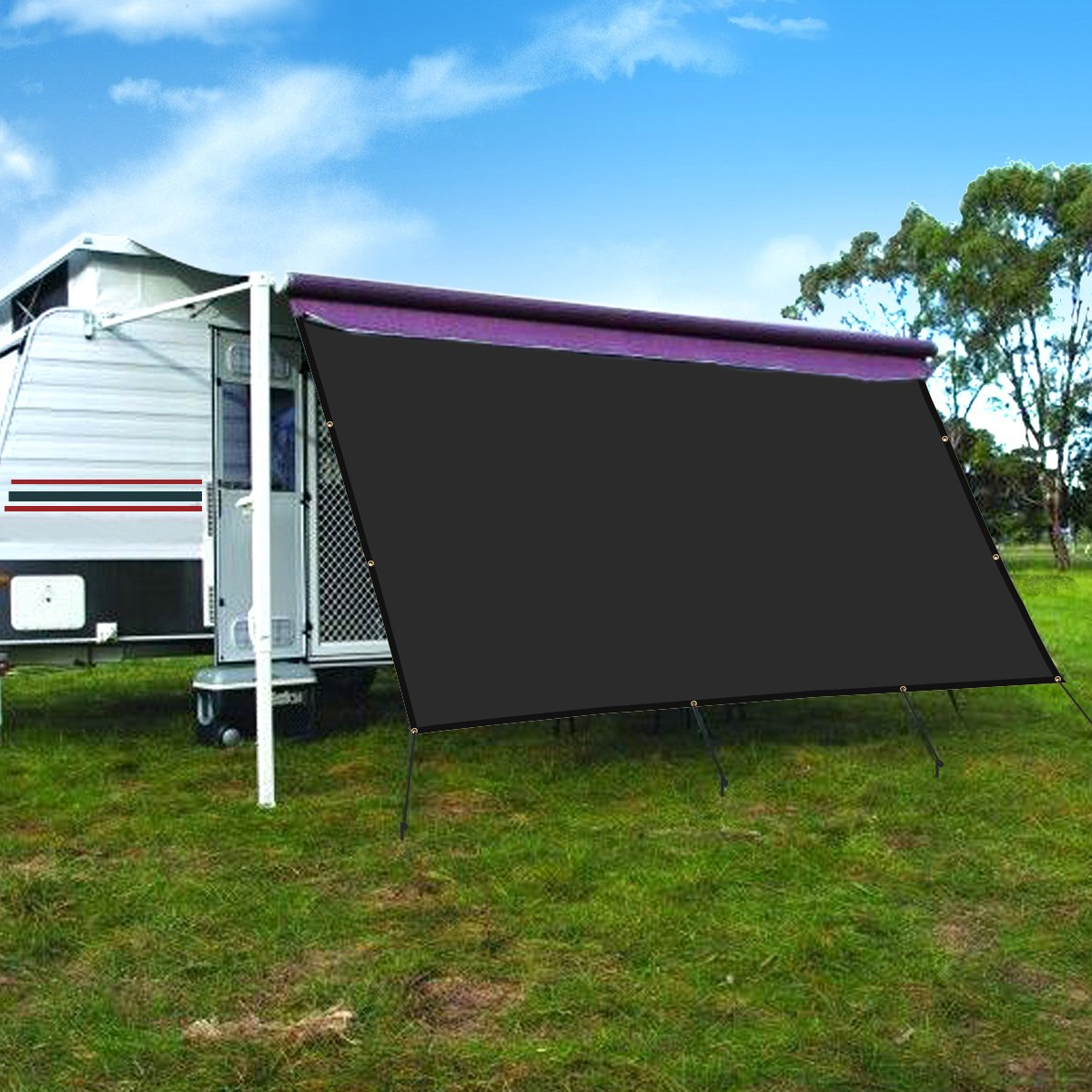 CAMWINGS RV Awning Privacy Screen Shade Panel Kit Sunblock Shade Drop 8 x 20ft, Black by CAMWINGS