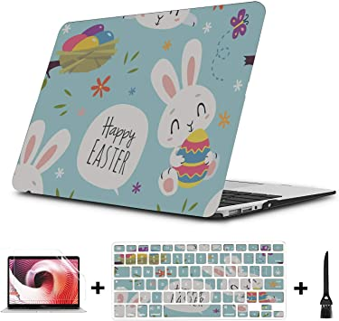 13 MacBook Case Cartoon Rabbit Pretty Cute Pet Plastic Hard Shell Compatible Mac Air 11 Pro 13 15 MacBook Pro 2018 Accessories Protection for MacBook 2016-2019 Version