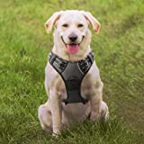 No Pull Dog Harness Large Black, Front Clip Vest Harness Dog Car Harnessses with Handle Puppy Chest Padded Adjustable Reflective Breathable Mesh Lightweight Easy Control for Outdoor Walking